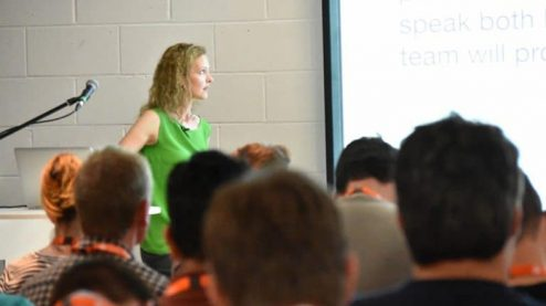 Tatiana Kolesnikova looking at presentation