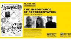 Artwork shown on left with images of panelist are shown, two black men and a black woman. The date and time noted.