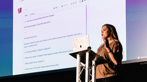 bethany sonefeld talking at design systems london
