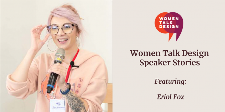 "Graphic: Eriol Fox headshot next to WTD logo and words ""Women Talk Design Speaker Stories featuring Eriol Fox"""
