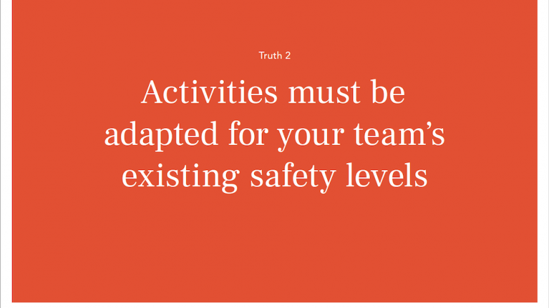 Activities must be adapted for your team's existing safety levels