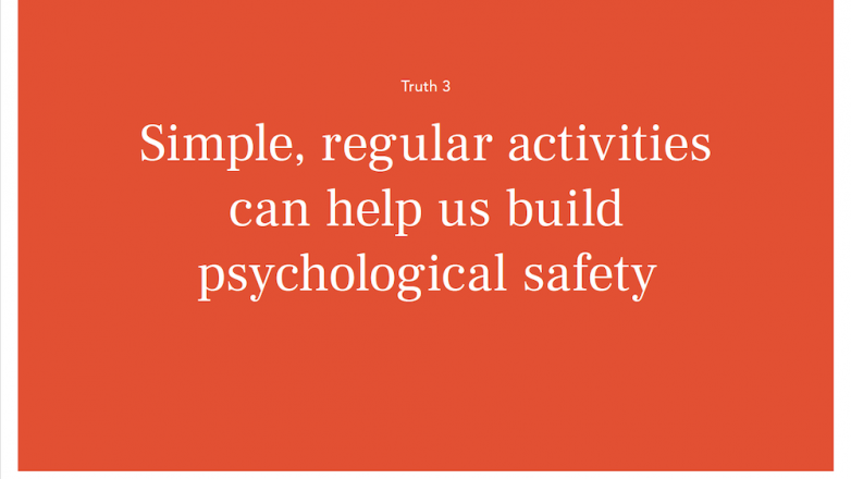 Simple, regular activities can help us build psychological safety