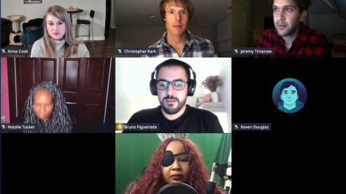 A group of speakers on a virtual call including Anna E. Cook, Raven Douglas, Bruno Figueiredo, Chris Kark, Crystal Preston-Watson, Jeremy Tinianow and Natalie Patrice Tucker