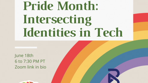 "flyer for remote event ""Techqueria and Blend Prent Pride Month: Intersecting Identities in Tech"". There is a rainbow in the background."