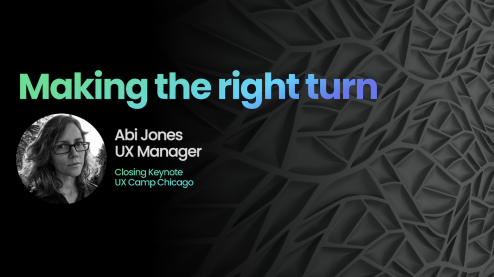 "Cover Image for Abi Jones's career talk ""Making the right turn"""