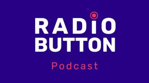 "Purple background with words ""Radio Button Podcast"""