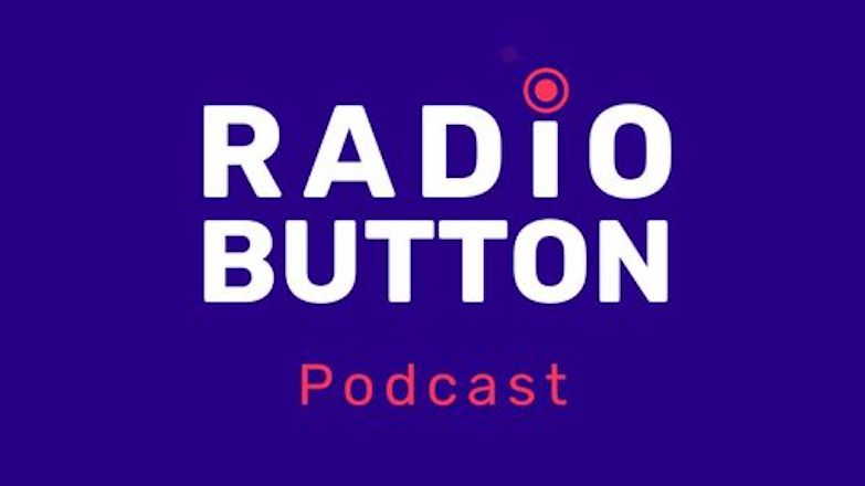 """Purple background with words """"Radio Button Podcast"""""""