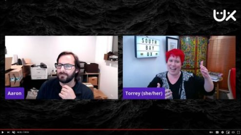 Meetup host Aaron and guest speaker Torrey are side-by-side in virtual meetup screen