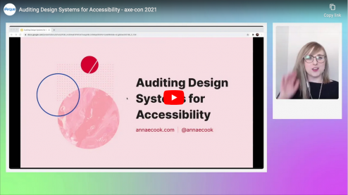 "The speaker, Anna, on the side of the screen and a presentation titled ""Auditing Design Systems for Accessibility""s"