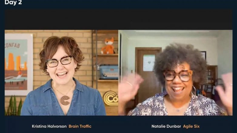 Side by side screengrab of Confab founder and host, Kristina Halvorson and speaker Natalie Dunbar, whose hands are raised, waving hello
