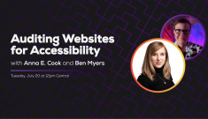 Auditing Websites for Accessibility with Anna E. Cook and Ben Myers. July 20, 2021 at 12pm Central
