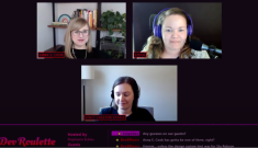 Stephanie Eckles, Stacy Carston Sporie and Anna E. Cook on a stream with a chat below and the Dev Roulette logo